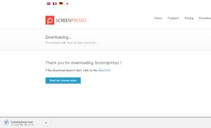 Screenpresso(スクリーンプレッソ)ダウンロード中の画面