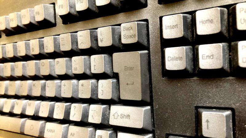 東プレのキーボード掃除前の写真(明るく加工)