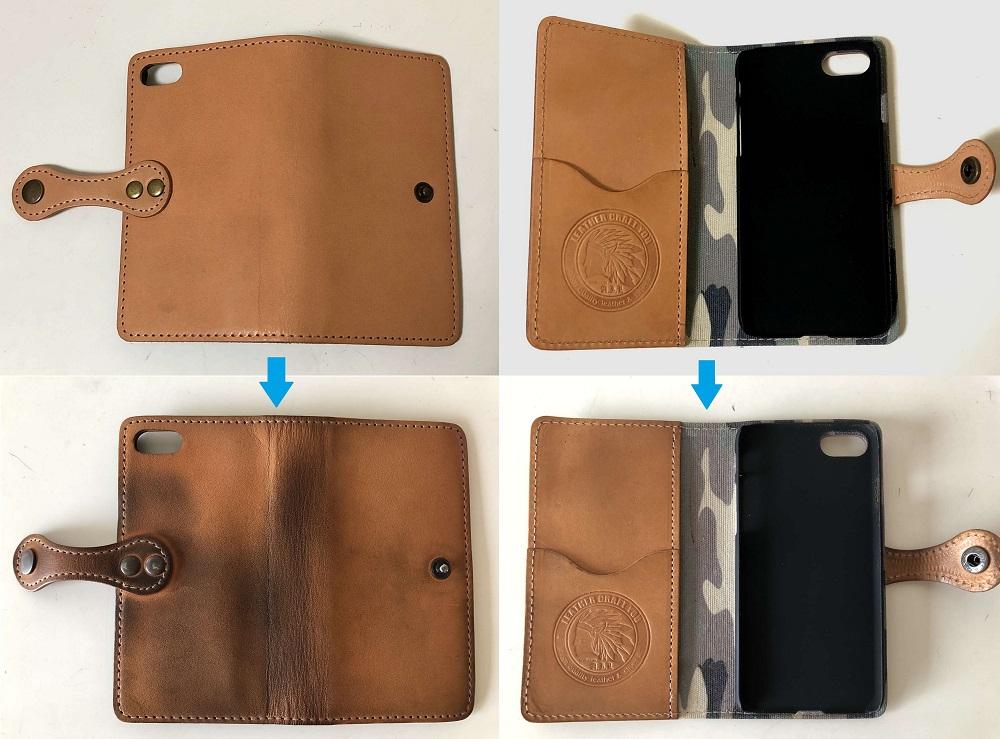 栃木レザーの手帳型iPhoneケース(購入時と使用後の比較)